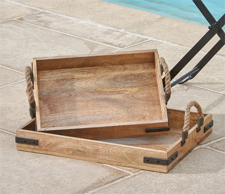 Wood Trays With Rope Handles Set Of 2 This amp That 4